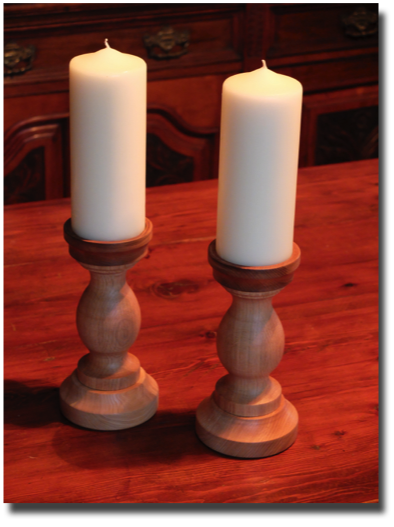oak and elm candlesticks