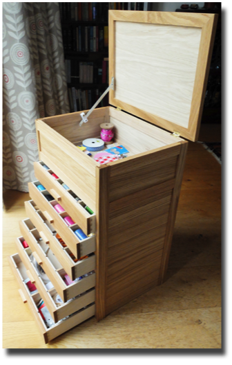 drawers and storage box all open
